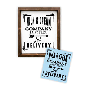 Milk and Creme Dairy Stencil - Paint a Wood Sign - Reusable