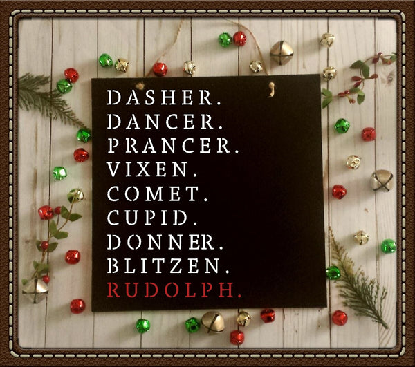 Santa's Reindeer Names Stencil - Paint a Wood Christmas Sign - Reusable