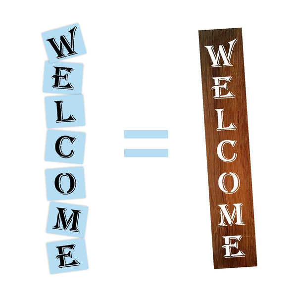 Welcome Porch Stencil For Wood Sign - Reuseable Stencil - Vertical