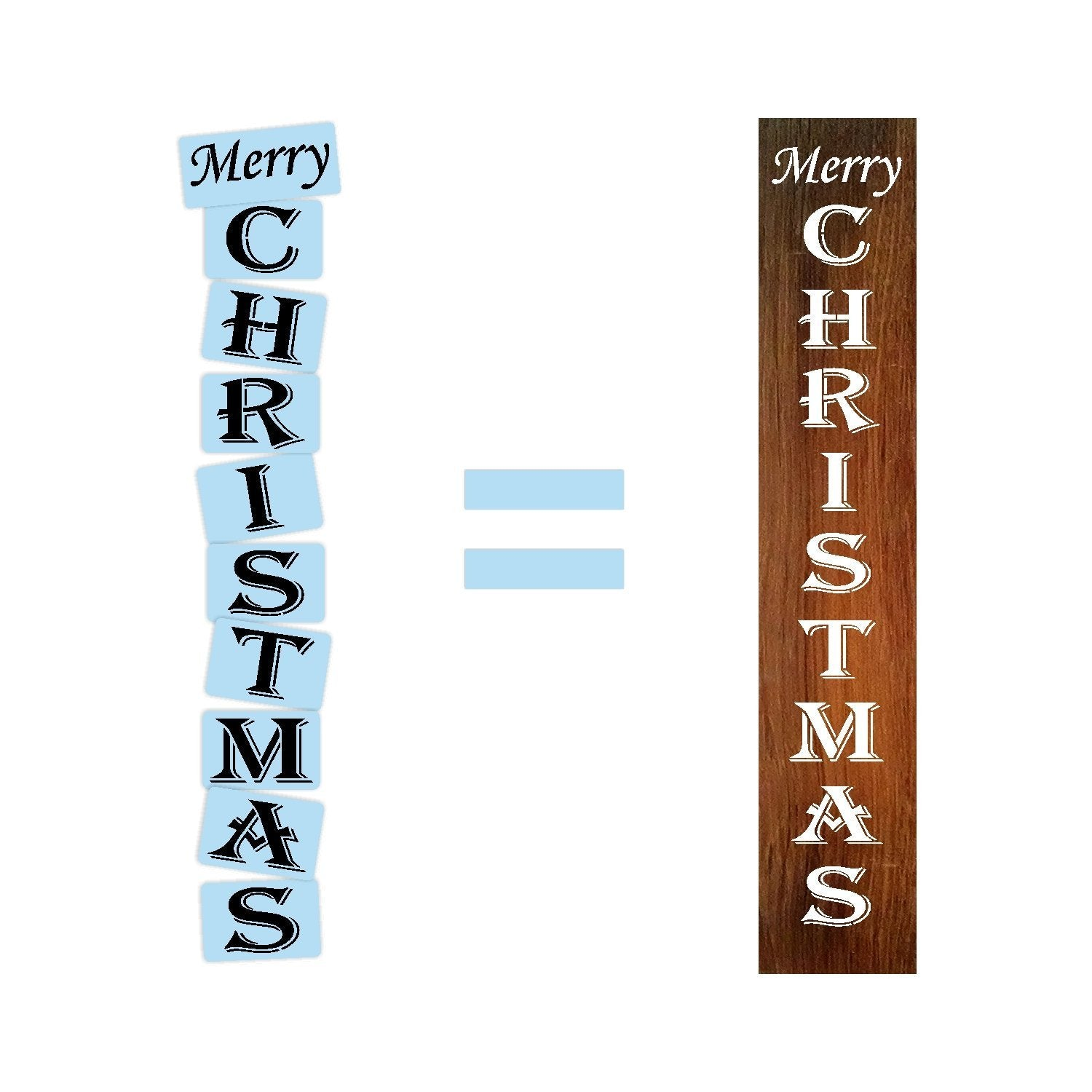 "Merry Christmas Porch Stencil - Fits 11.25"" x 60"" Board - Reusable - Paint Your Own Wood Sign"
