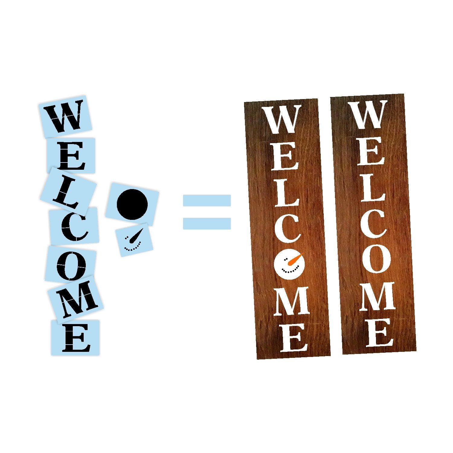 Welcome Snowman Porch Stencil For Wood Sign - Reuseable Stencil - Vertical