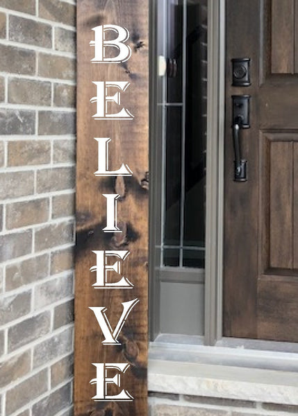 Believe Porch Stencil - Reusable - Christmas Stencil - Paint Your Own Wood Sign - Reusable