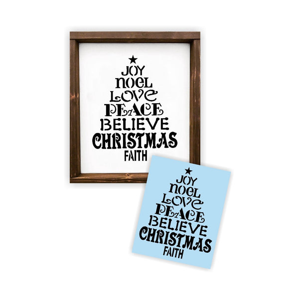 Christmas Tree Word Stencil For Wood Sign - Reuseable Stencil