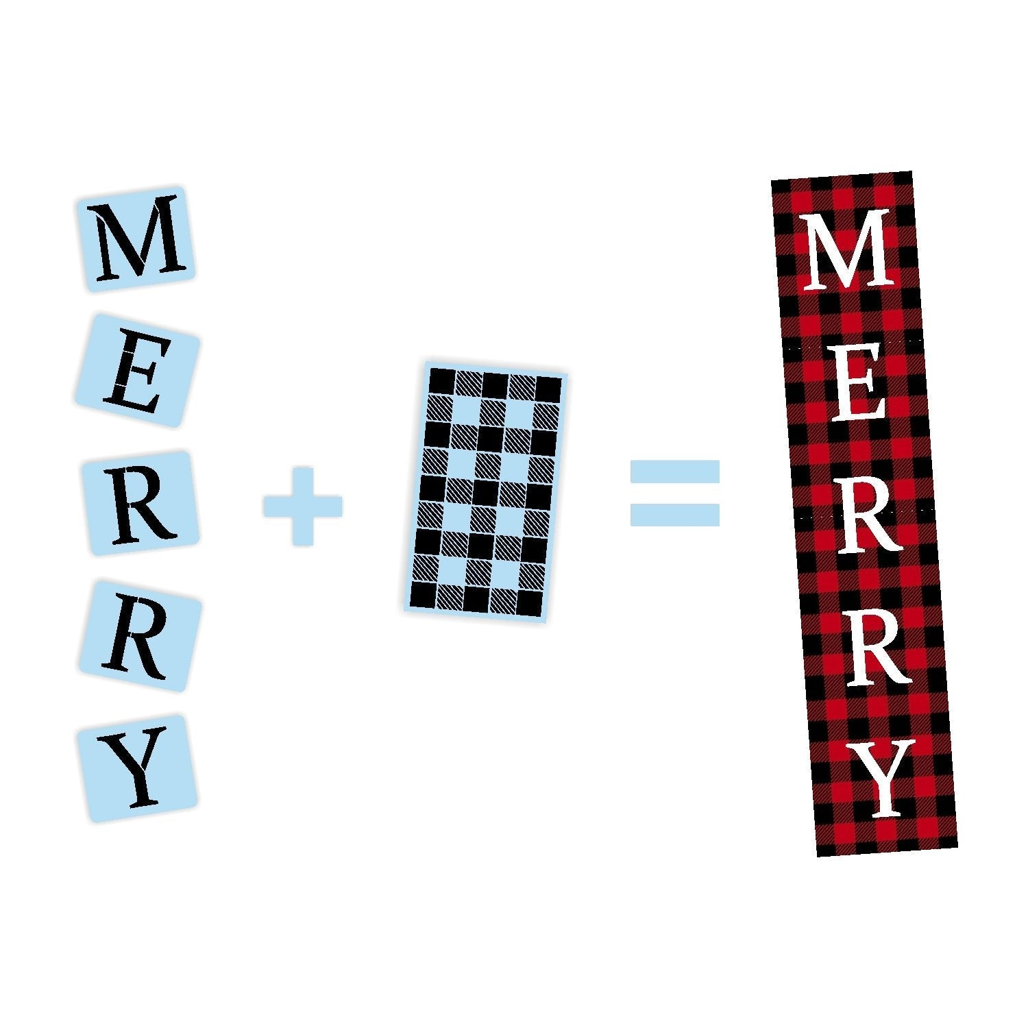 Merry Plaid Christmas Porch Stencil - Reusable - Christmas Stencil - Paint Your Own Wood Sign - Reusable Plastic Stencil