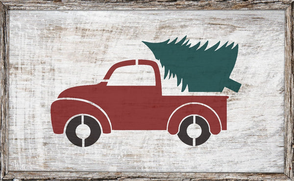 Little Christmas Truck Stencil - Paint Your Own Sign,Vintage Red Truck - Reusable Plastic Stencil