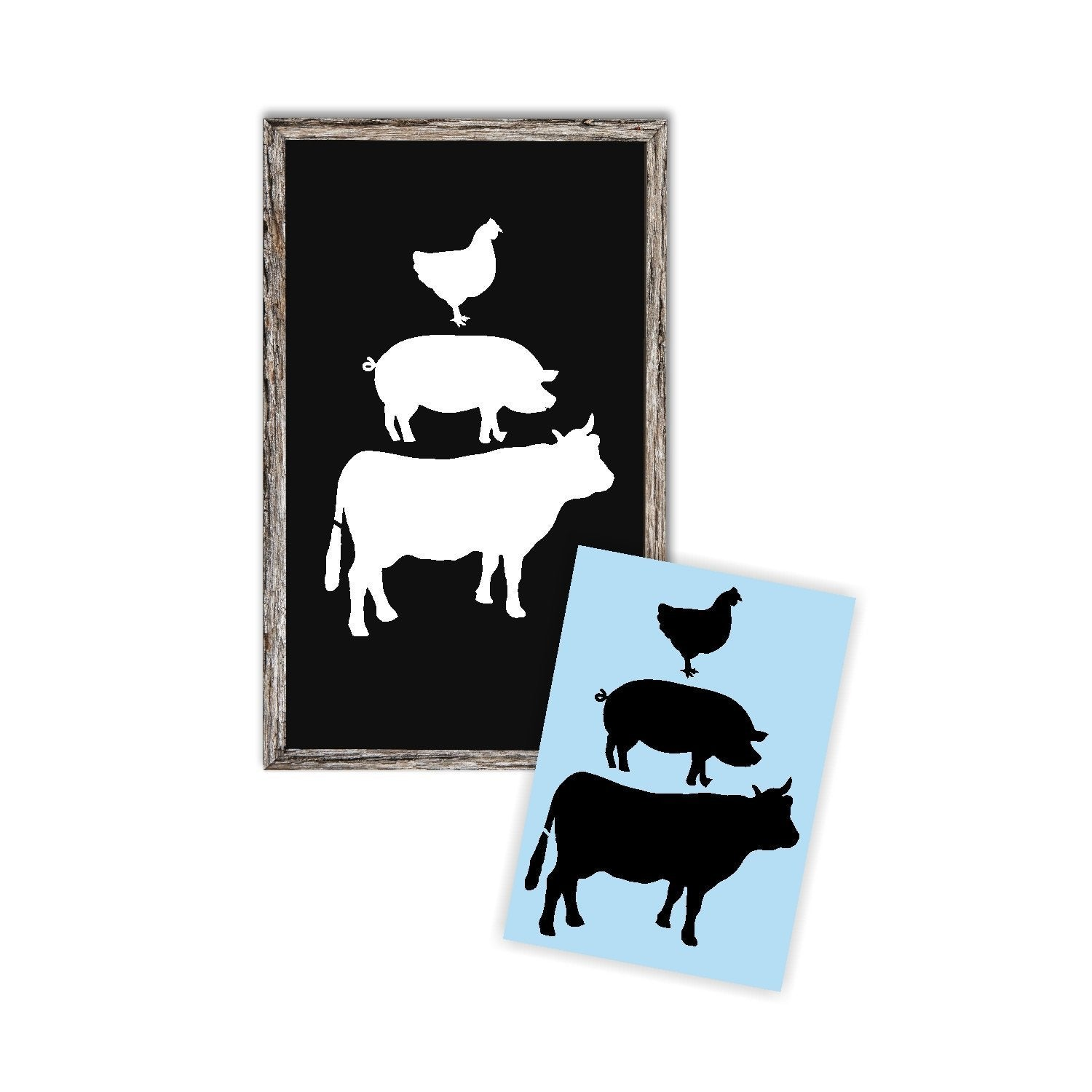 Cow Pig Rooster Stack Stencil For Wood Sign - Reuseable Stencil