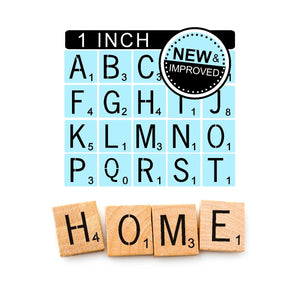 Scrabble Stencils Kit - Reusable - 1 Inch Scrabble Tiles Stencil - Paint Your Own