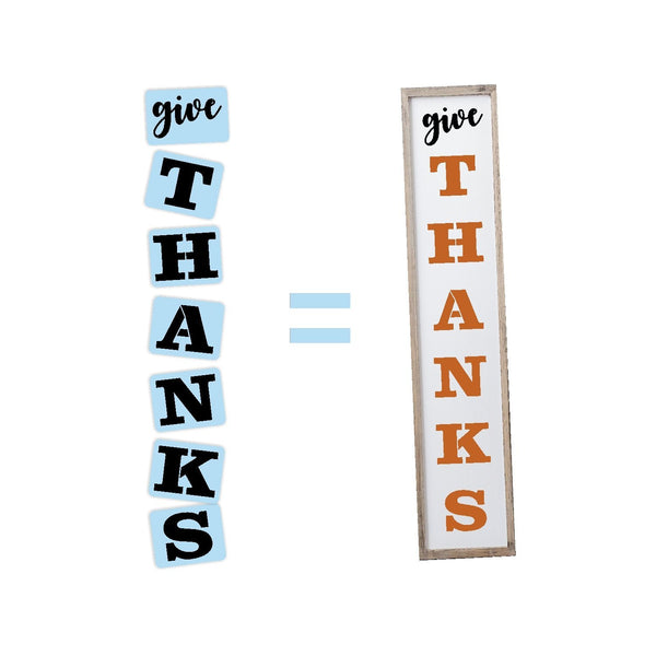 Give Thanks Porch Stencil For Wood Sign - Reuseable Stencil - Vertical