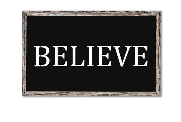 Believe Stencil For Painting Wood Signs - Reuseable Plastic - 14 mil -