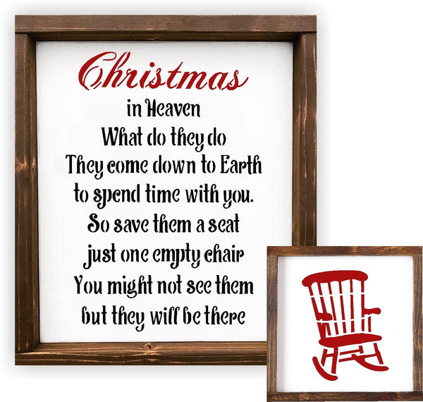 Christmas Rocking Chair Stencil For Painting Wood Signs - Reuseable Plastic - Holiday Sign