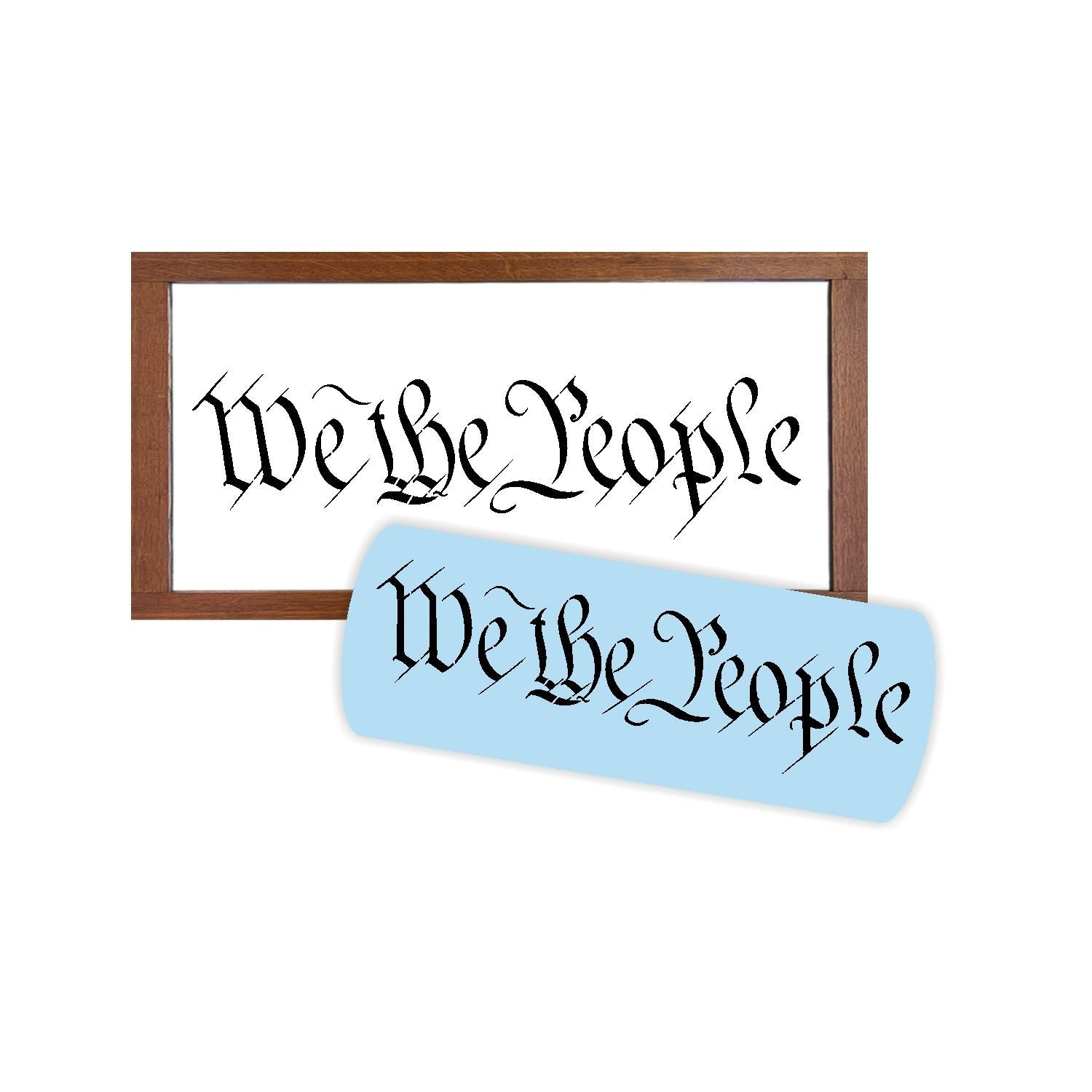 We The People Stencil For Painting Wood Signs - Reuseable Plastic - US Constitution