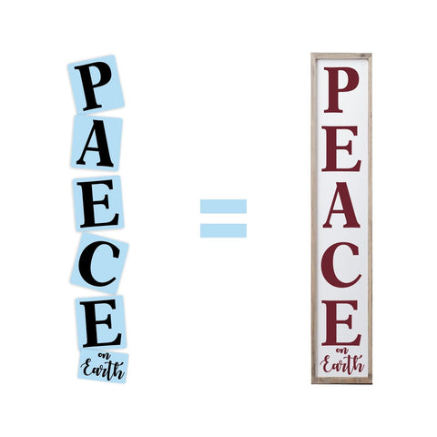 Peace on Earth Porch Stencil - Reusable - Christmas Stencil - Paint Your Own Sign - Reusable Plastic Stencil