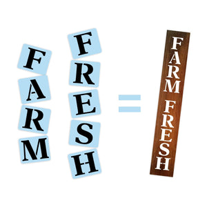 Farm Fresh Porch Stencil For Wood Sign - Reuseable Stencil - Vertical