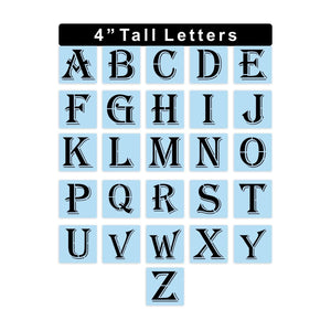 Letters Stencils Kit - 4 Inch Tall Letters - Reusable - Paint Your Own Sign - Full Alphabet