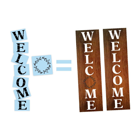 "Welcome Wreath Porch Stencil For Wood Sign - Reuseable Stencil - Vertical - 10"" x 48"""