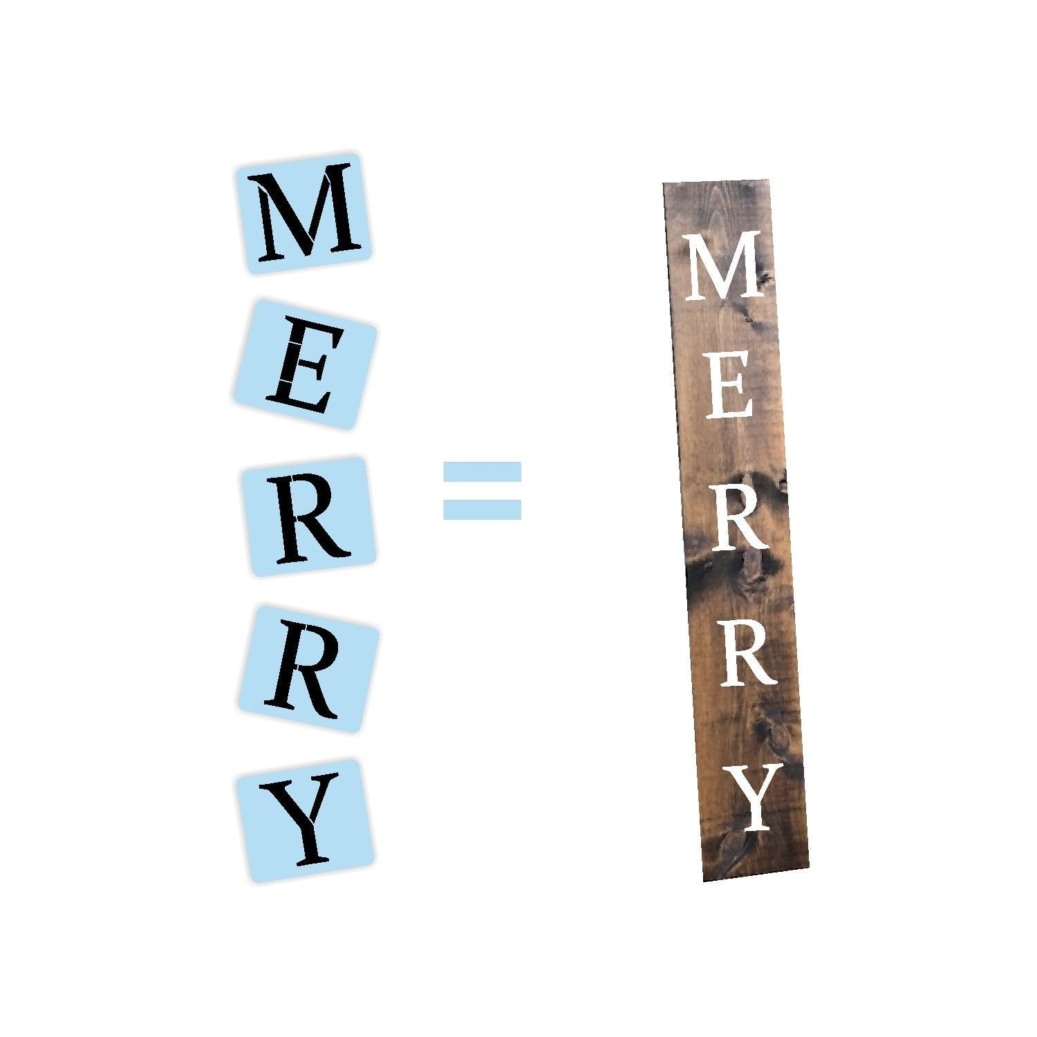 Merry Christmas Porch Stencil - Reusable - Holiday Stencil - Paint Your Own Wood Sign - Reusable Plastic Stencil