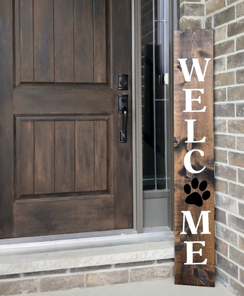 "Welcome Paw Prints Porch Stencil For Wood Sign - Fits 10"" x 48"" Board - Reuseable Stencil"