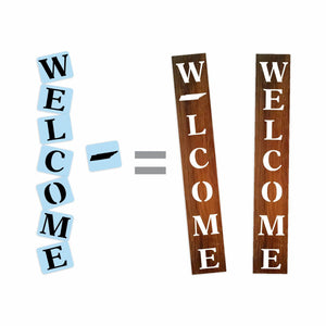 "Welcome Tennessee State Porch Stencil For Wood Sign - Fits 5.5"" x 40"" Board - Reuseable Stencil"