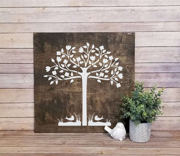 Tree and Birds Stencil - Primitive - Paint Your Own Sign - Reusable & Sturdy - Love
