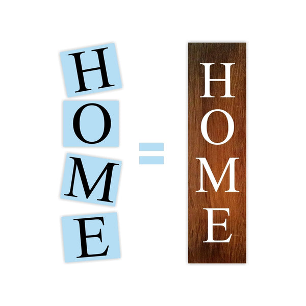 Home Porch Stencil For Wood Sign - Reuseable Stencil - Vertical