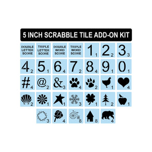 Scrabble Stencils ADD-ON Kit - 5 INCH - Reusable - Scrabble Tiles Stencil - Sign Painting