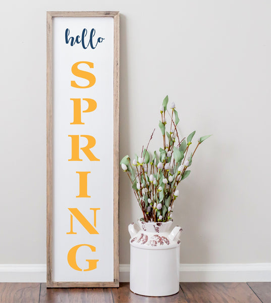 Hello Spring Porch Stencil For Wood Sign - Reuseable Stencil - Vertical
