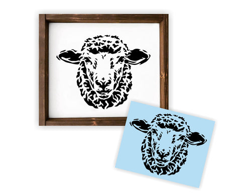 Sheep Head Stencil - Paint Your Own Wood Sign - Reusable Plastic Stencil - Lamb
