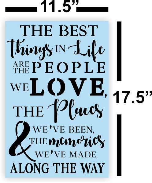 The Best Things In Life Stencil - Reusable Stencil - Paint Your Own Wood Sign