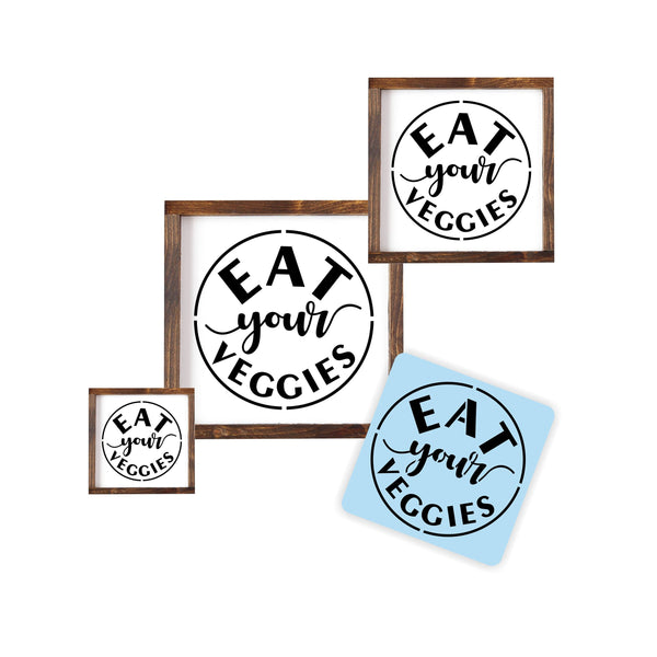 Eat Your Veggies Stencil 3 Pack For Wood Sign - Reuseable - Kitchen Decor