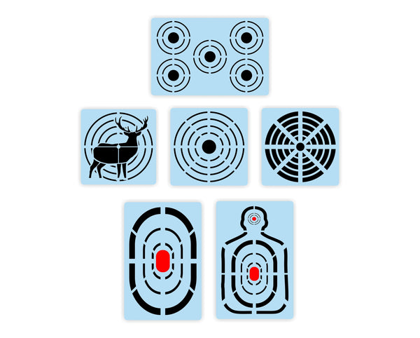 Shooting Targets STENCIL Super Bundle - Paint Your Own Practice Targets - Reusable Plastic - Large Field Range Shooting
