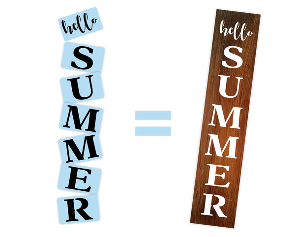 Hello Summer Porch Stencil For Wood Sign - Reuseable Stencil - Vertical