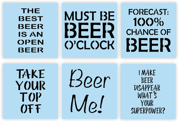Beer Sayings STENCIL Super Bundle, Paint Your Own Wood Sign Cap Catcher, Beer Bottle Opener Wall Mount with Cap Catcher