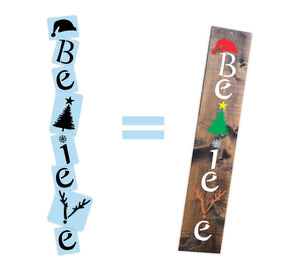 Christmas Believe Porch Stencil For Wood Sign - Reuseable Stencil - Vertical