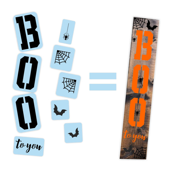 Halloween Boo To You Porch Stencil For Wood Sign - Reuseable Stencil - Vertical