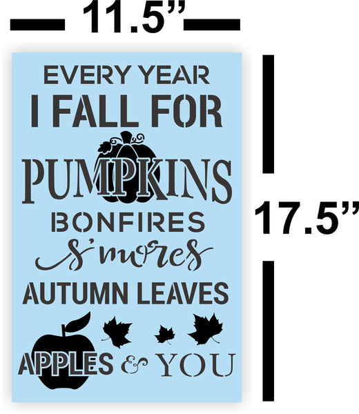 Fall Pumpkin Smores Leaves Apples STENCIL - Paint Your Own Sign - Reusable