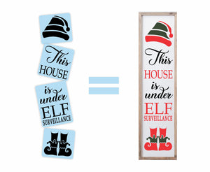 Elf Surveillance Porch Stencil - Reusable - Plastic Stencil Kit - Paint Your Own Wood Sign