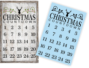 Christmas Advent Calendar Stencil - Paint Your Own Sign - Reusable Plastic Stencil