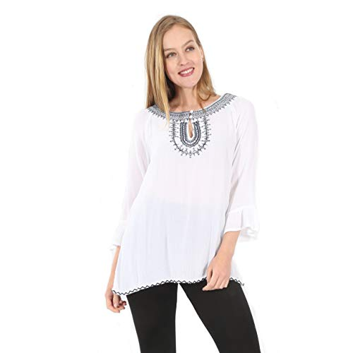 Casual Top with Embroidered Around the Neck