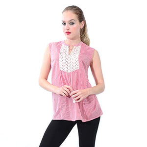 Pin Striped Top with Embroidery Around Collar