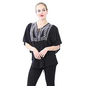 Embroidered Blouse with 3/4 Sleeves