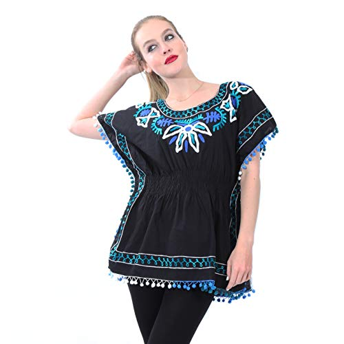 Mexican Style Embroidered Blouse with Bat Sleeves