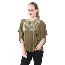 Load image into Gallery viewer, Embroidered Blouse with 3/4 Sleeves