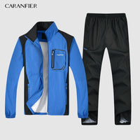 CARANFIER New Mens Jacket 2019 Breathable Fishing Waterproof Jackets 2 Piece Mens Set Sportswear Jacket +Pants plus size L-5XL