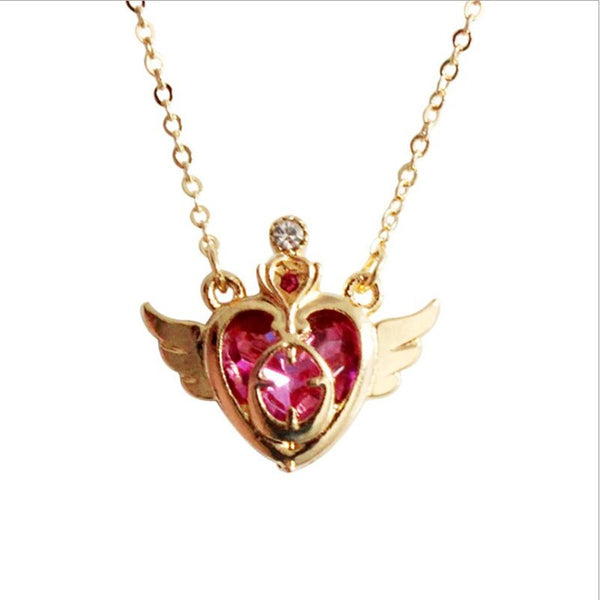 Anime Sailor Moon Ami Regresa Metal Peach Heart Shaped Girls Jewelry Accessories Gemstone Wings Necklace Pendant Cosplay Props