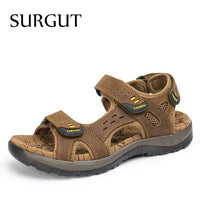 SURGUT Hot Sale New Fashion Summer Leisure Beach Men Shoes High Quality Leather Sandals The Big Yards Men's Sandals Size 38-48