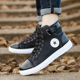 OUDINIAO Mens Shoes Casual PU Designer Sneakers Men High Top Casual 2018 Big Size Men's Casual Shoes Breathable Fashion Star