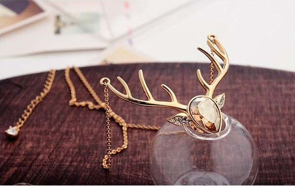 Harry Christmas Hogwarts Potter mascot Elk crystal alloy necklace women Accessories jewelry gift