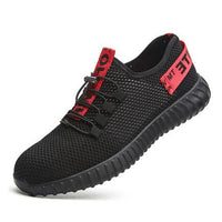 Breathable Mesh Work Shoes Black Mens Summer Deodorant Lightweight Soft-bottomed Steel Toe Puncture-proof Male Safety Work Shoes