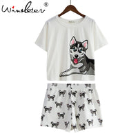 Dog Print Women Pajamas Husky Print White Loose Top Elastic Waist Shorts 2 Pieces Set Nightwear Pijamas S79201