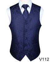 Men's Classic Party Wedding Paisley Plaid Floral Jacquard Waistcoat Vest Pocket Square Tie Suit Set Pocket Square Set